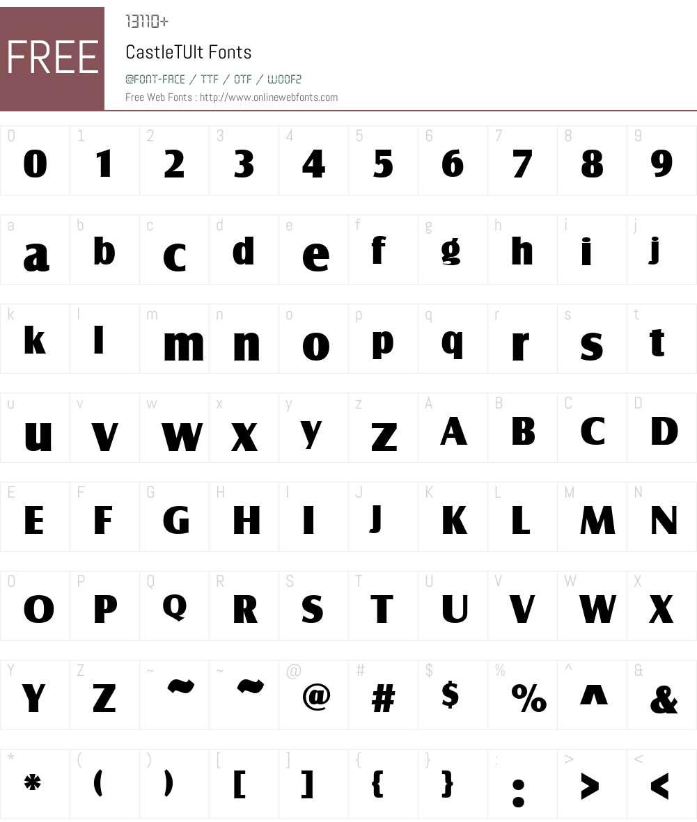 CastleTUlt Font Screenshots