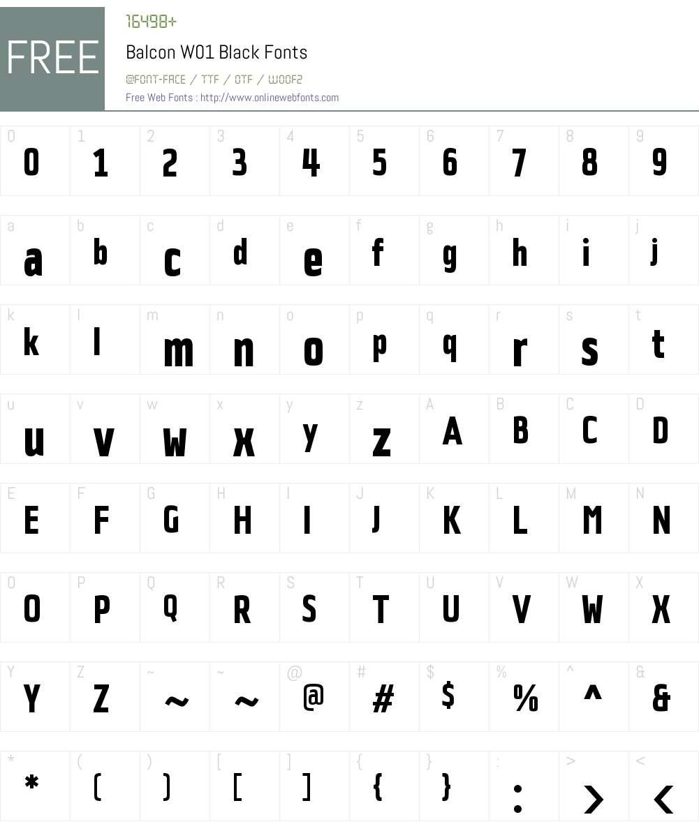 BalconW01-Black Font Screenshots