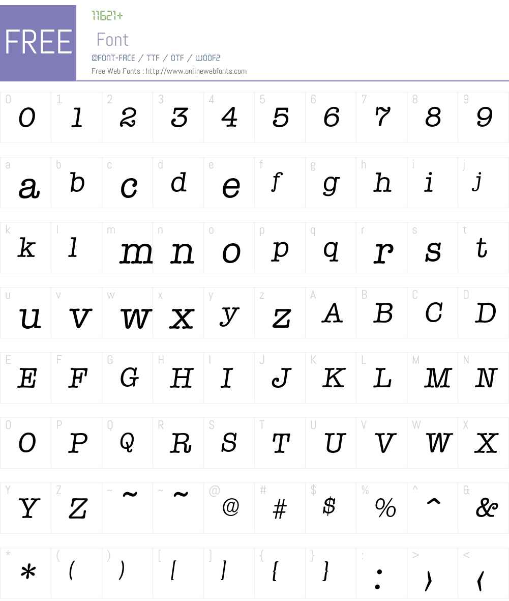 Typewriter-RegularIta Font Screenshots