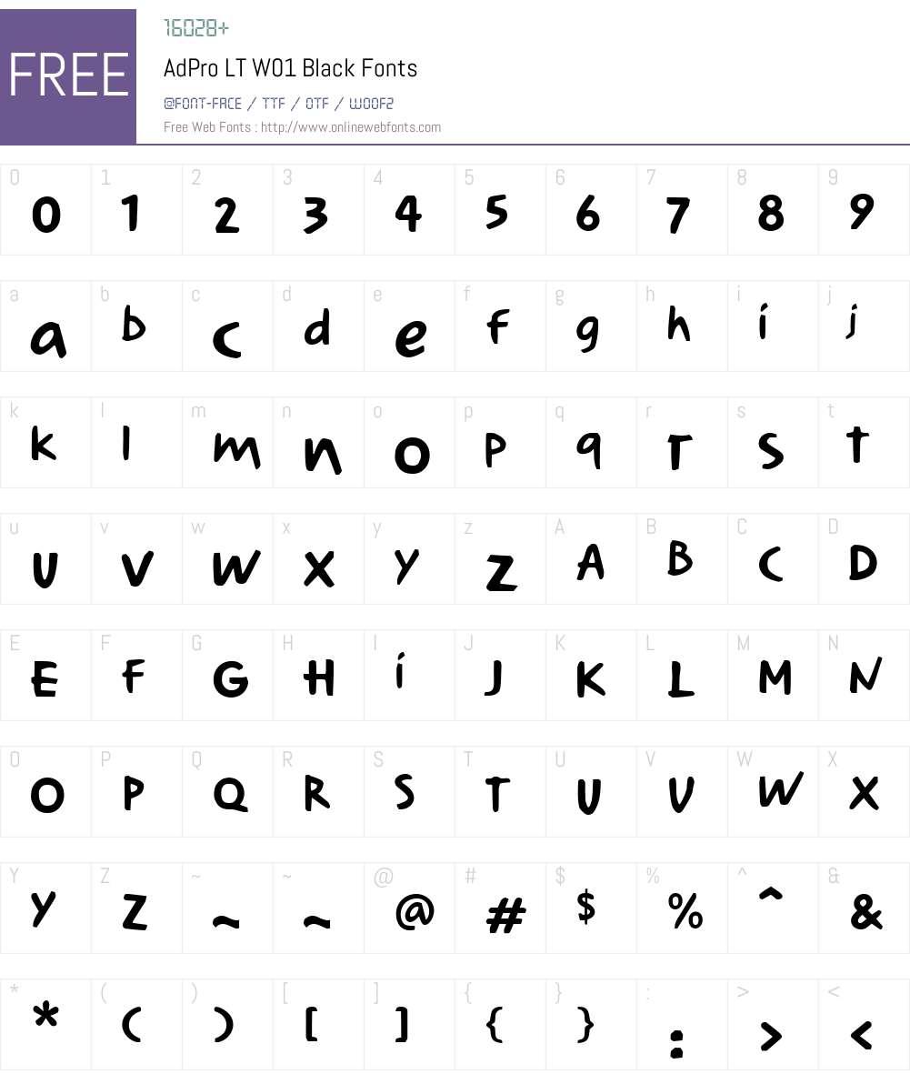 AdProLTW01-Black Font Screenshots