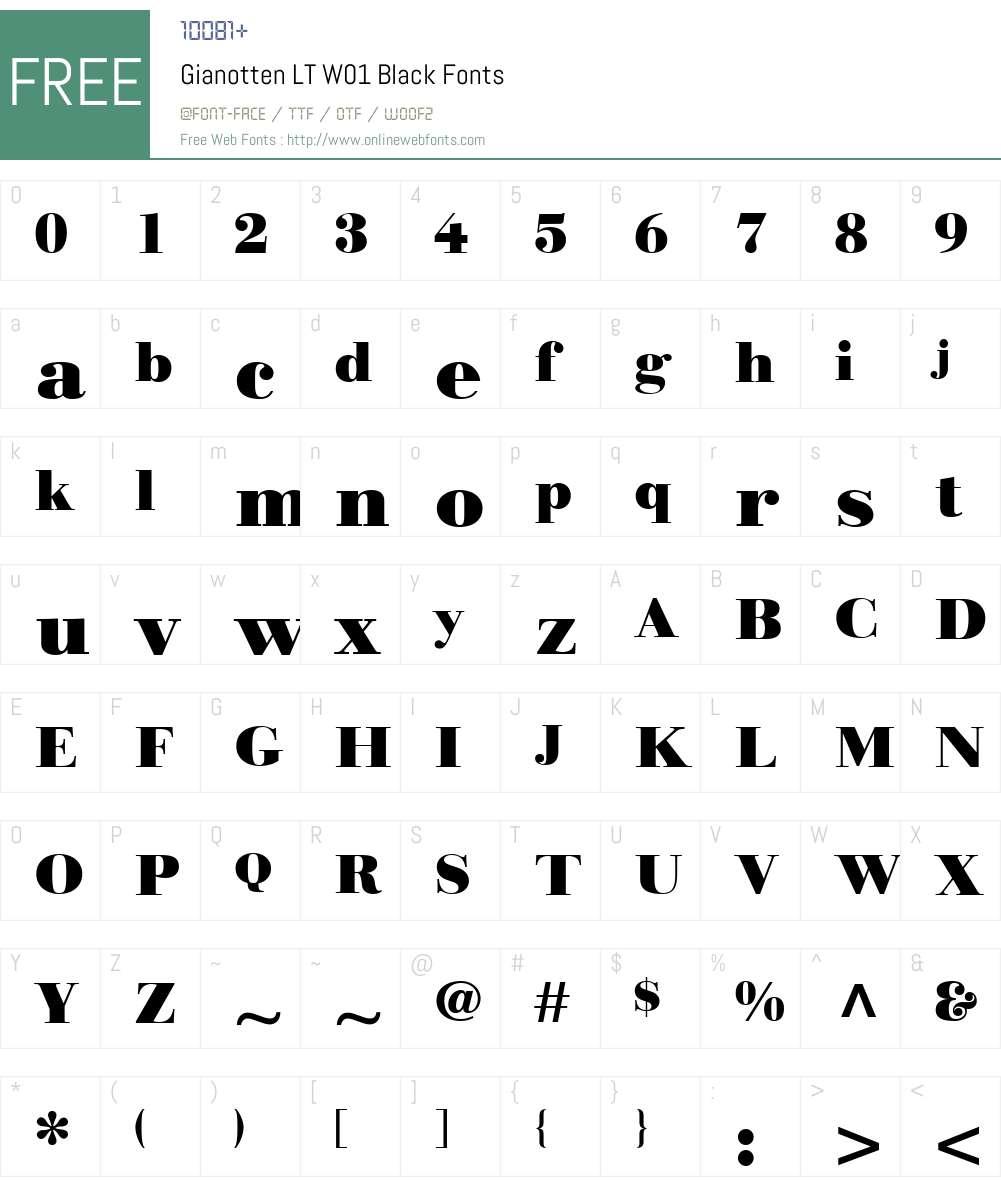 GianottenLTW01-Black Font Screenshots