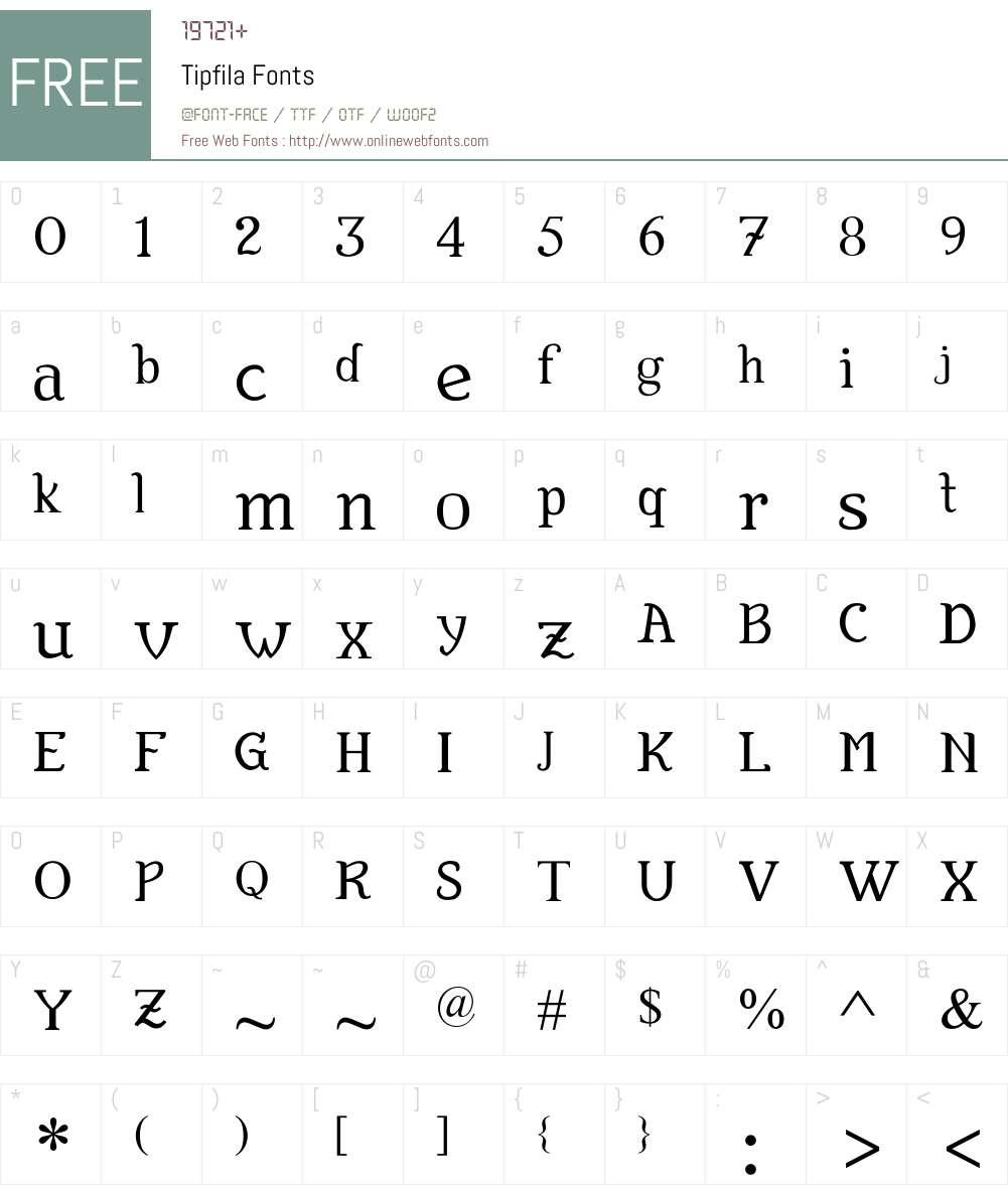 Tipfila Font Screenshots
