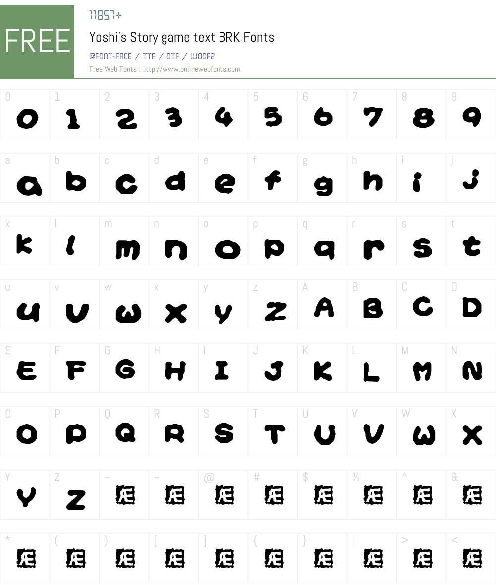 Yoshi's Story game text BRK Font Screenshots