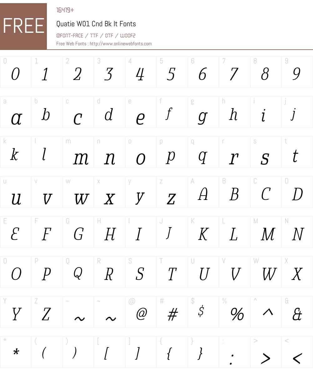 QuatieW01-CndBkIt Font Screenshots