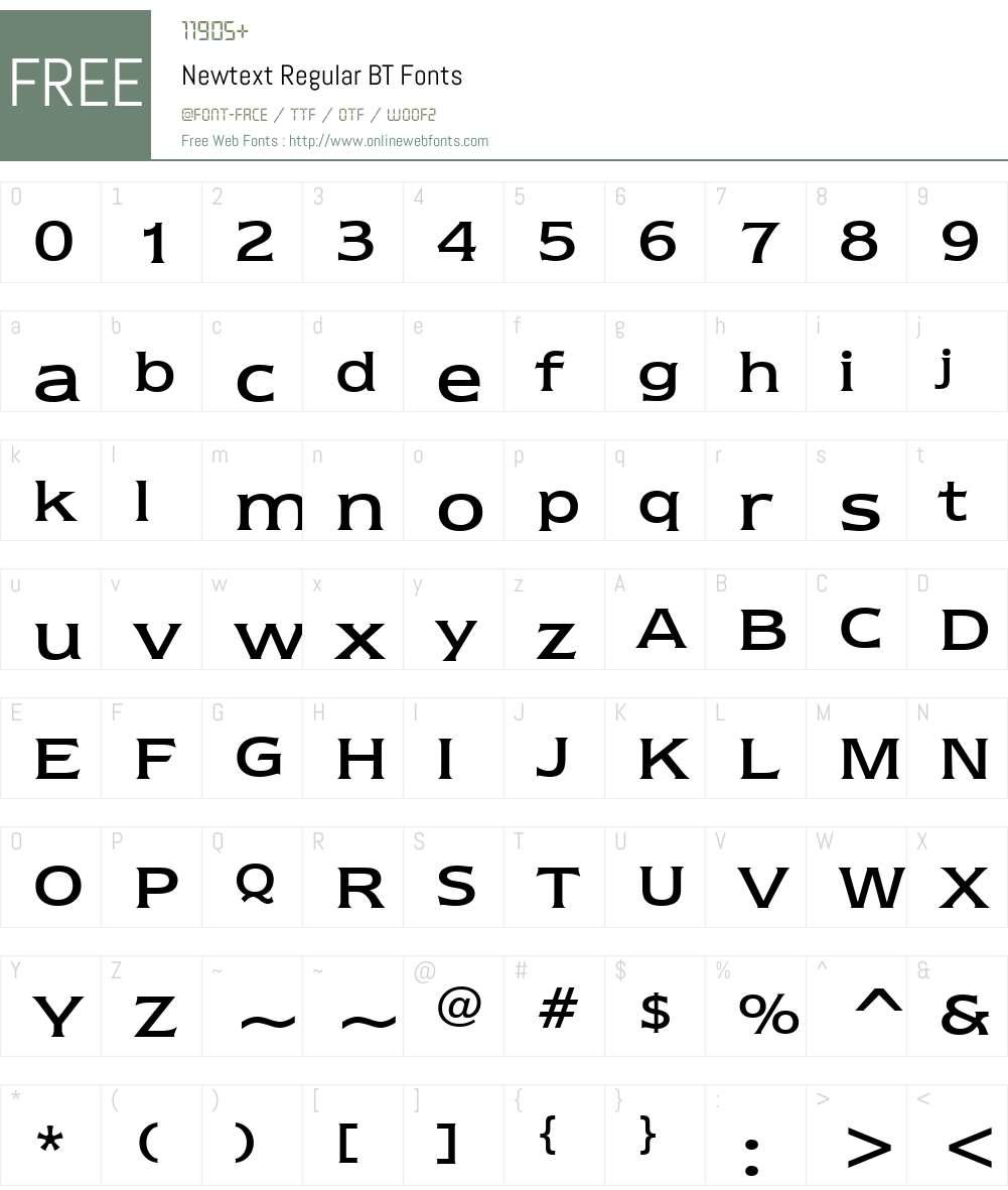Newtext Rg BT Font Screenshots