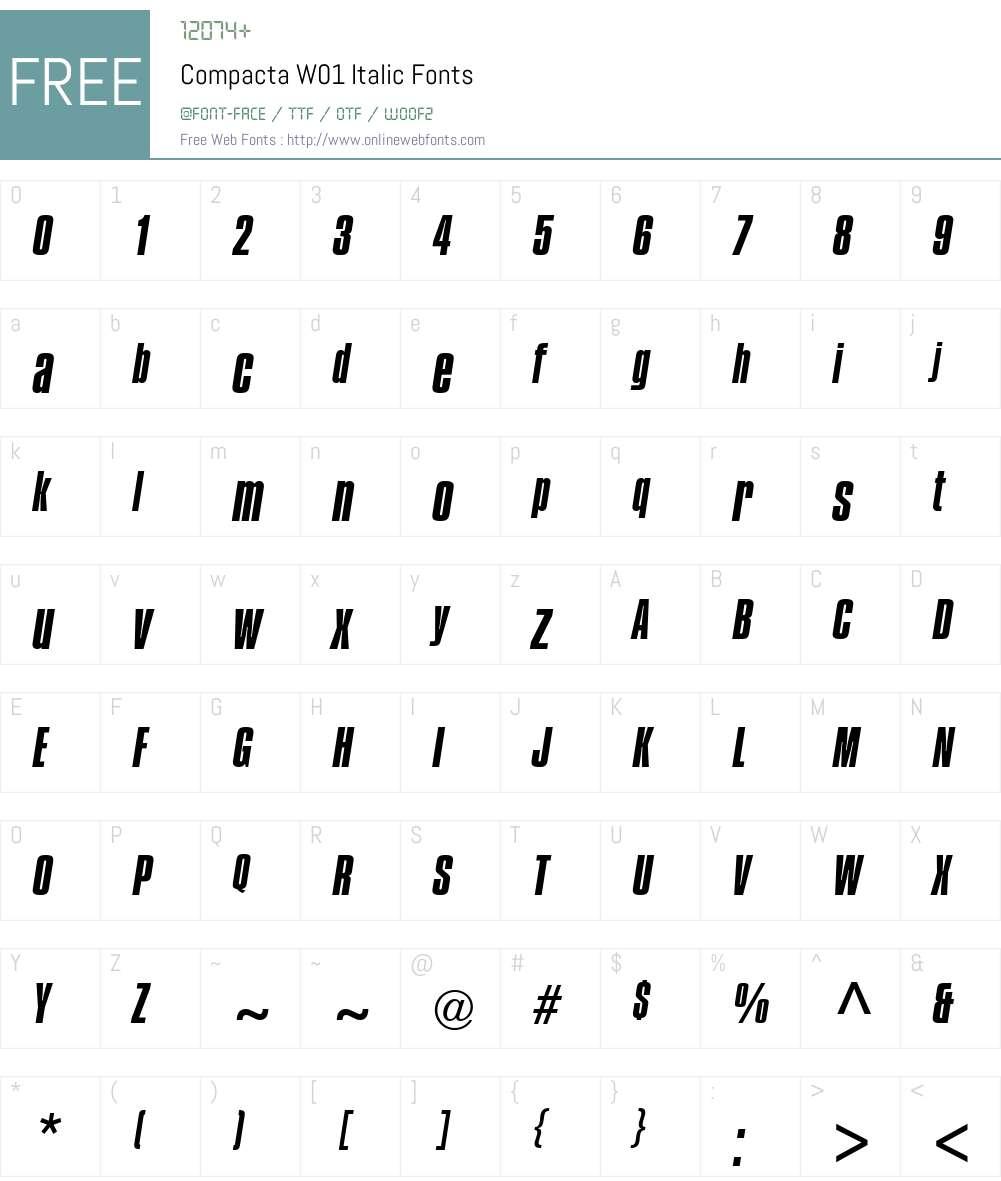 CompactaW01-Italic Font Screenshots