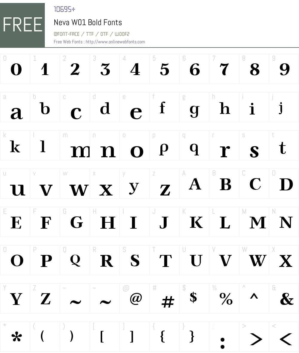 NevaW01-Bold Font Screenshots