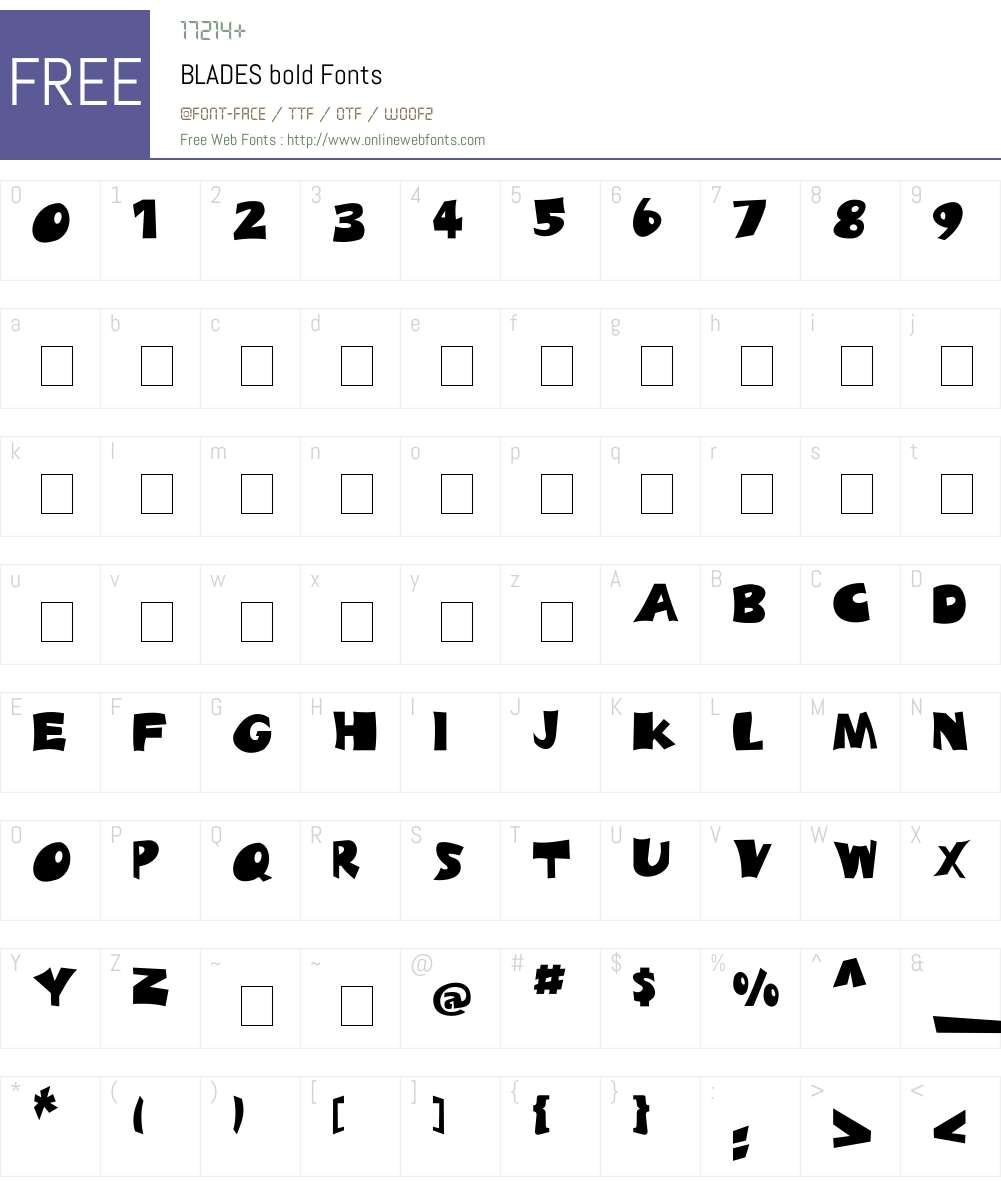 BLADES Font Screenshots