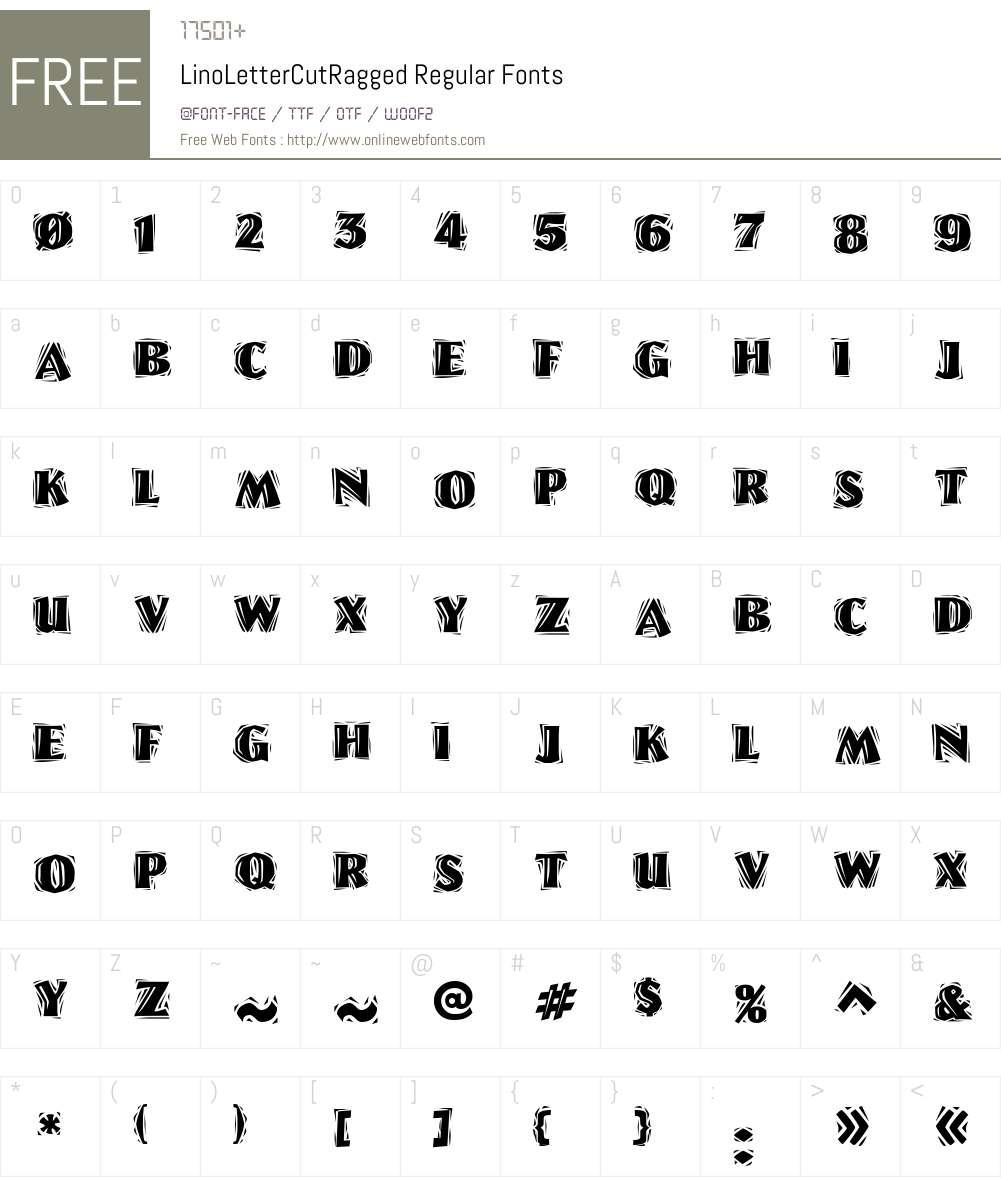 LinoLetterCutRagged Font Screenshots