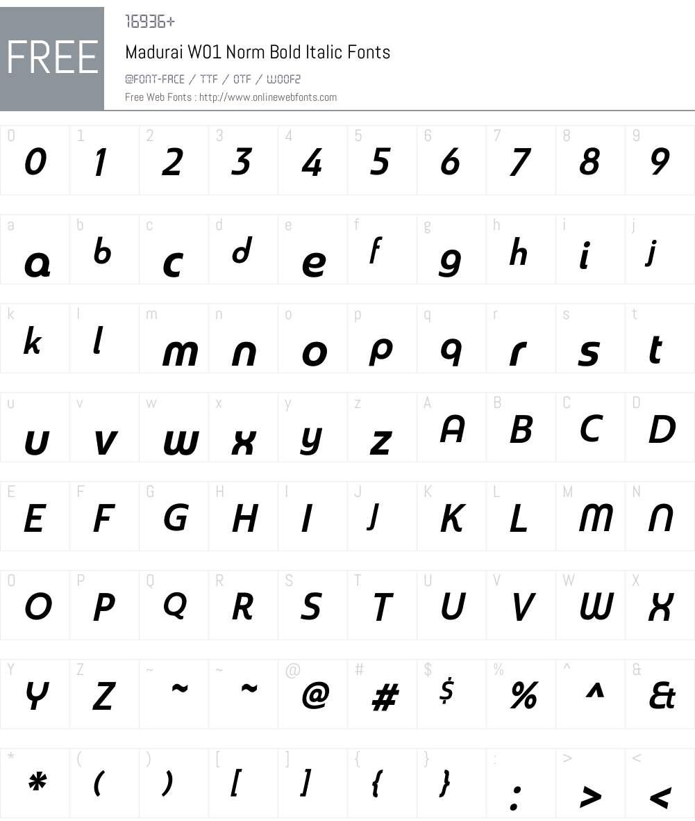 MaduraiW01-NormBoldItalic Font Screenshots