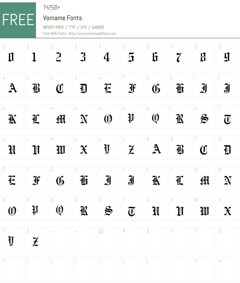 Vorname Font Screenshots