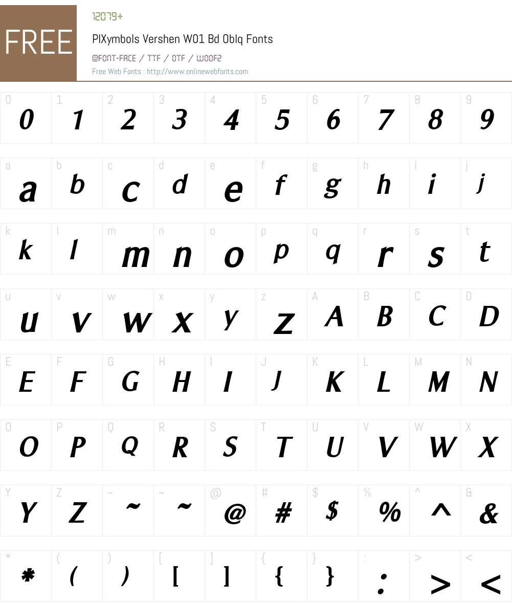 PIXymbolsVershenW01-BdOblq Font Screenshots