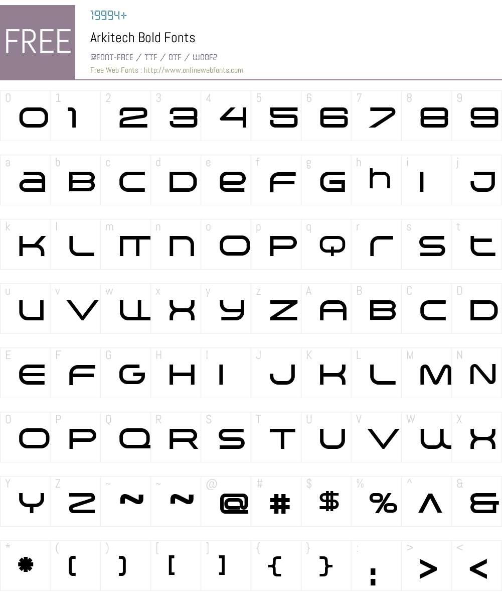 Arkitech Bold Font Screenshots