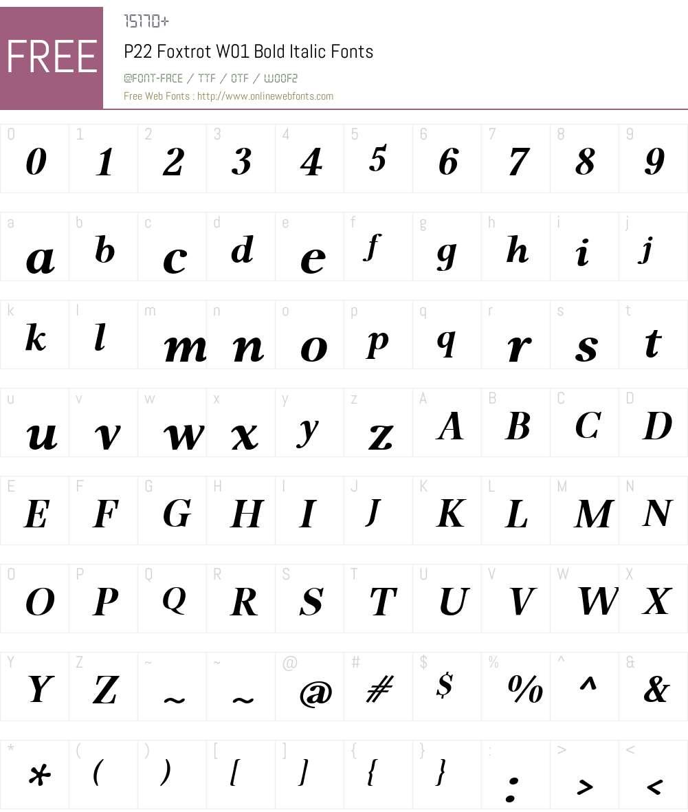 P22FoxtrotW01-BoldItalic Font Screenshots