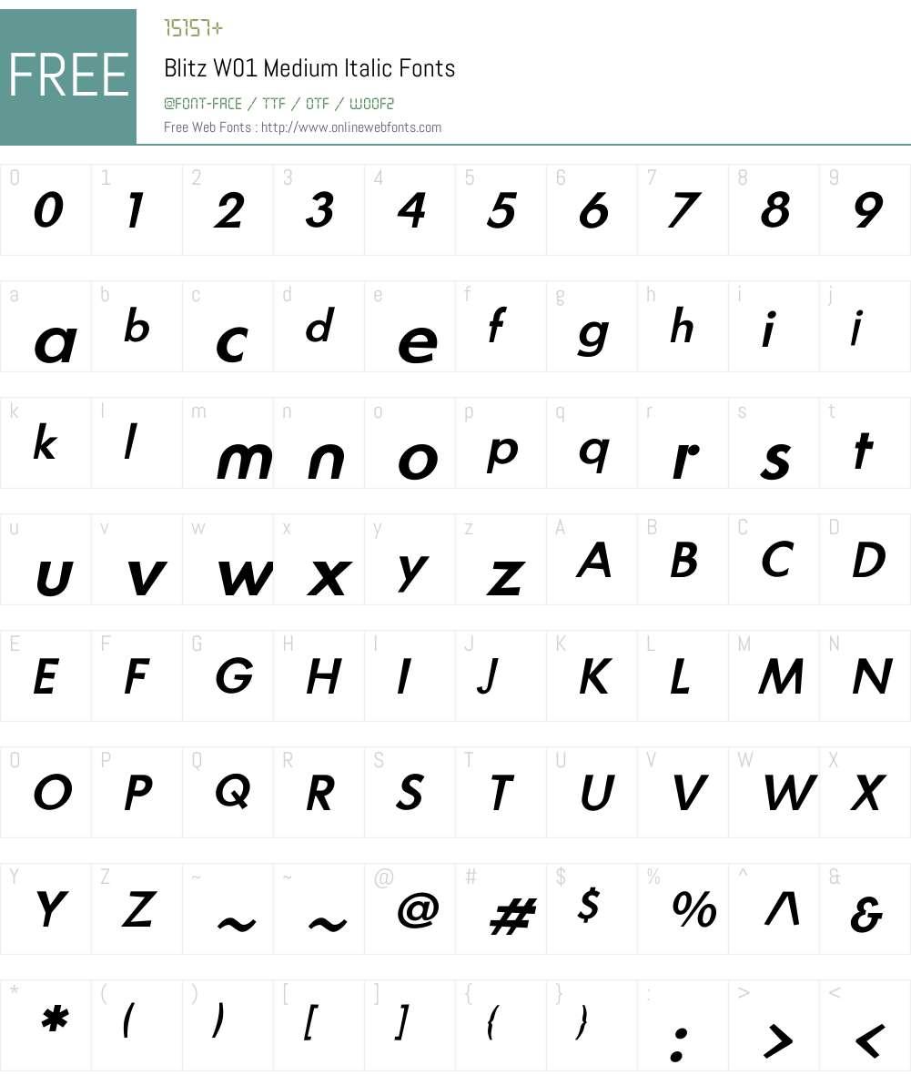 BlitzW01-MediumItalic Font Screenshots