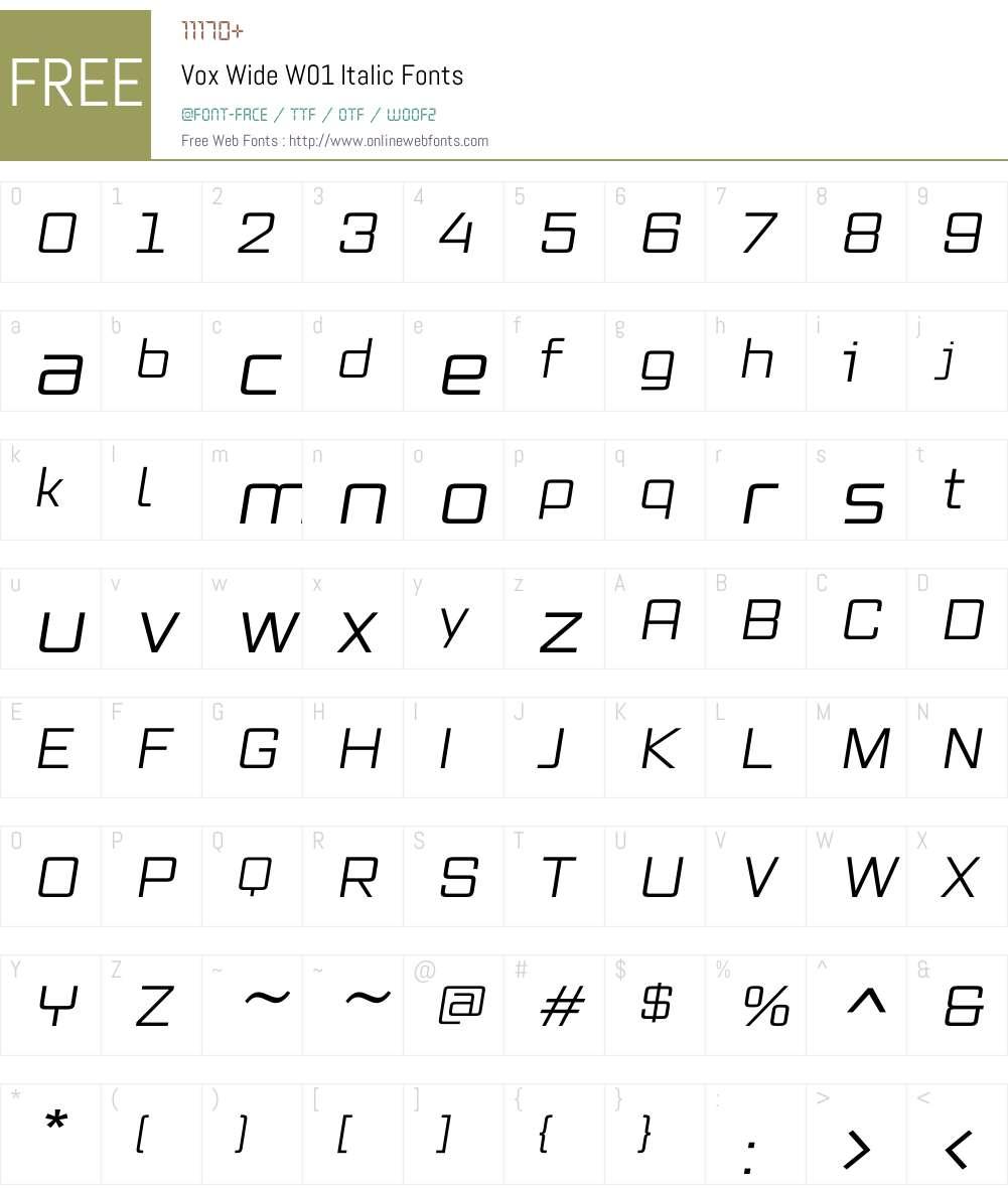 VoxWideW01-Italic Font Screenshots