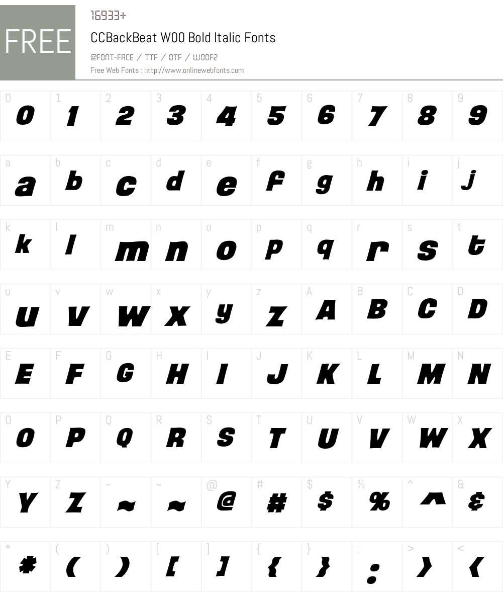 CCBackBeatW00-BoldItalic Font Screenshots