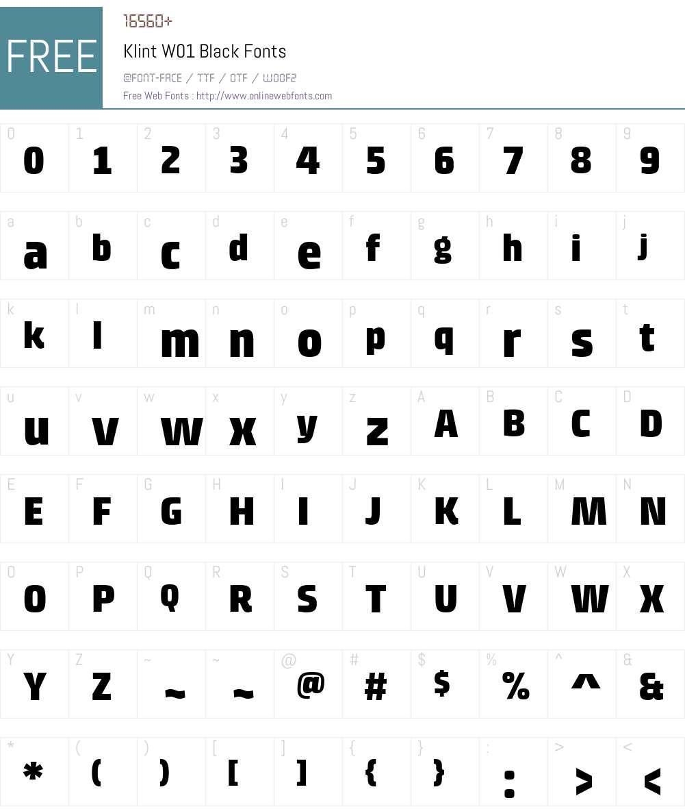 KlintW01-Black Font Screenshots