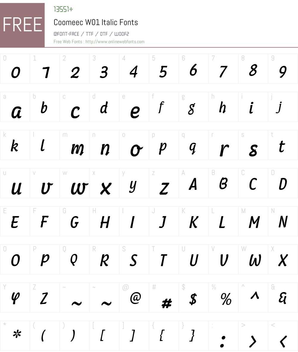 CoomeecW01-Italic Font Screenshots