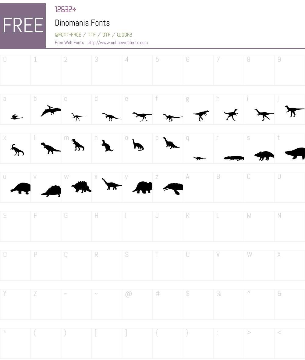 Dinomania Font Screenshots
