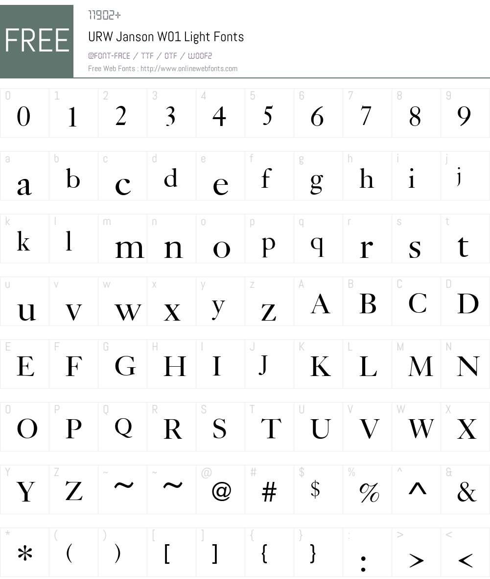 URWJansonW01-Light Font Screenshots