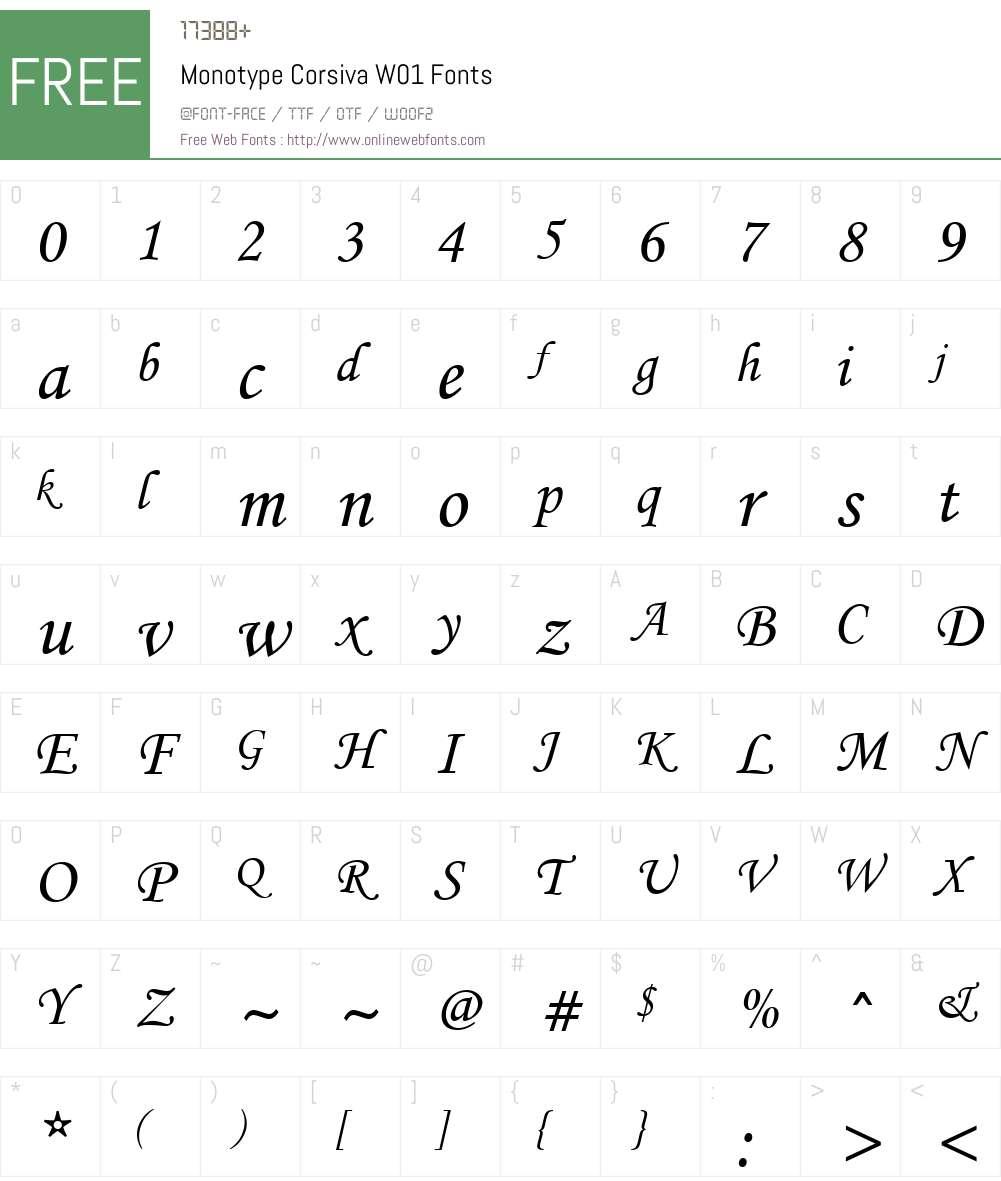 MonotypeCorsivaW01 Font Screenshots