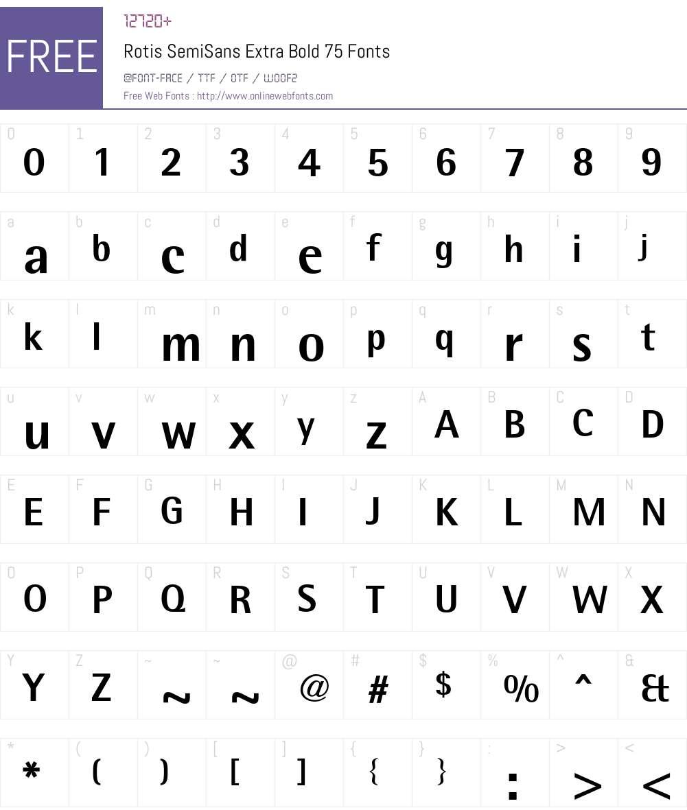 RotisSemiSans Font Screenshots