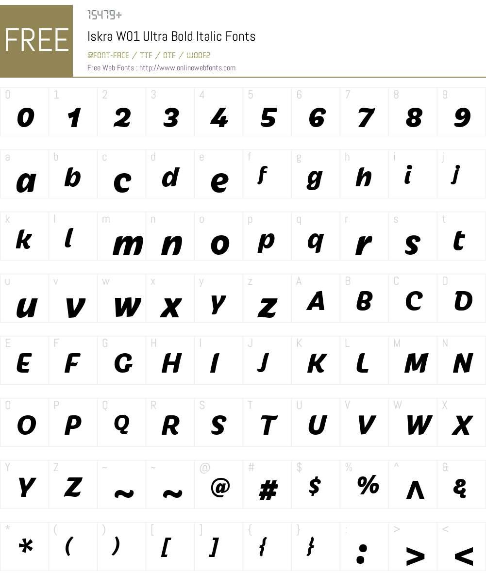IskraW01-UltraBoldItalic Font Screenshots