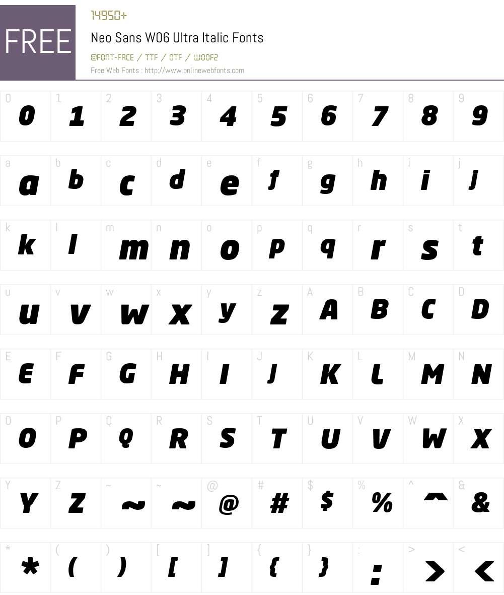 NeoSansW06-UltraItalic Font Screenshots