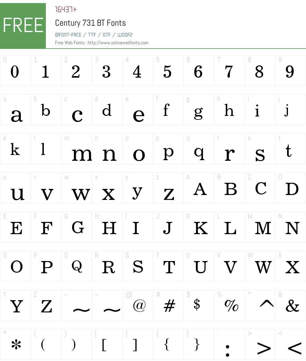 Century731 BT Font Screenshots