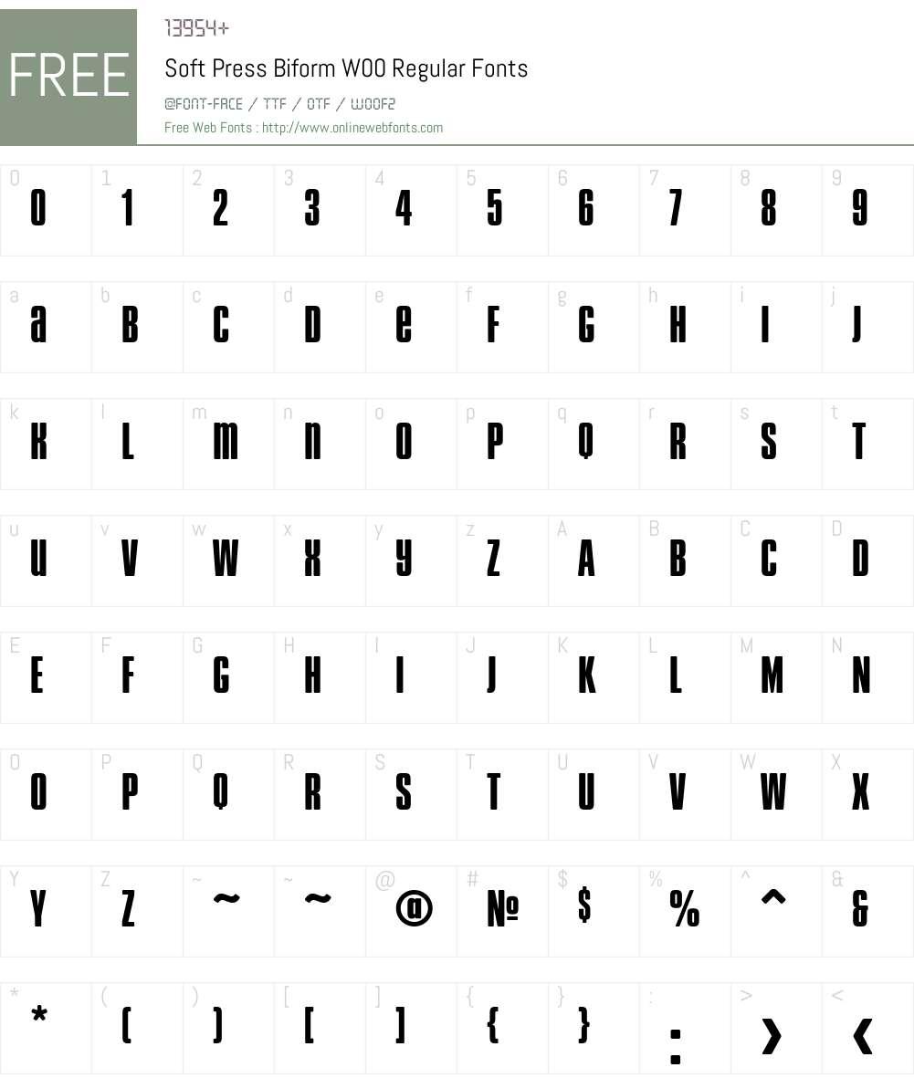 SoftPressBiformW00-Regular Font Screenshots