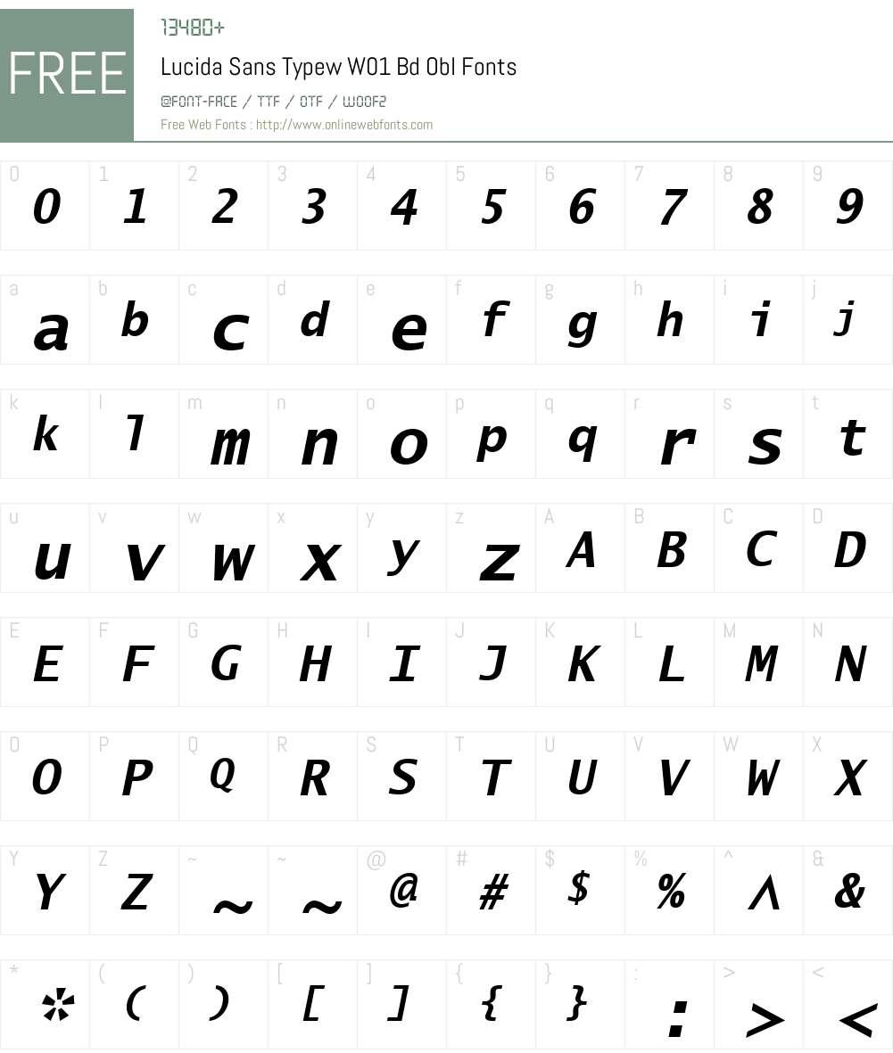 LucidaSansTypewW01-BdObl Font Screenshots