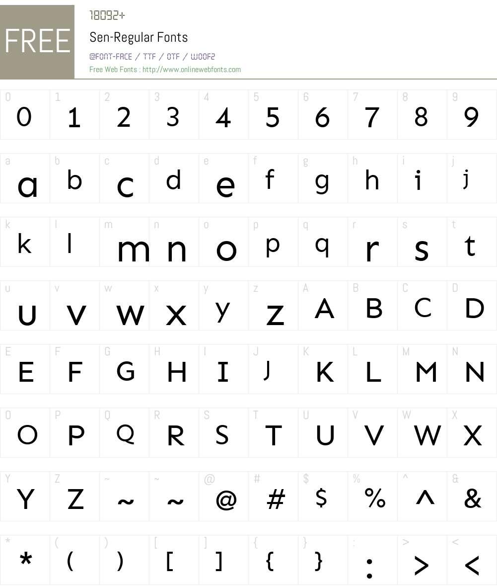 Sen-Regular Font Screenshots