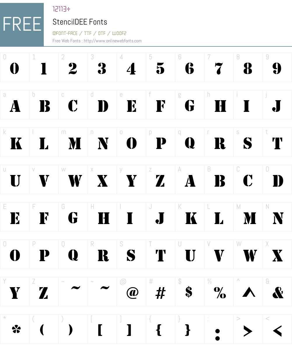 StencilDEE Font Screenshots