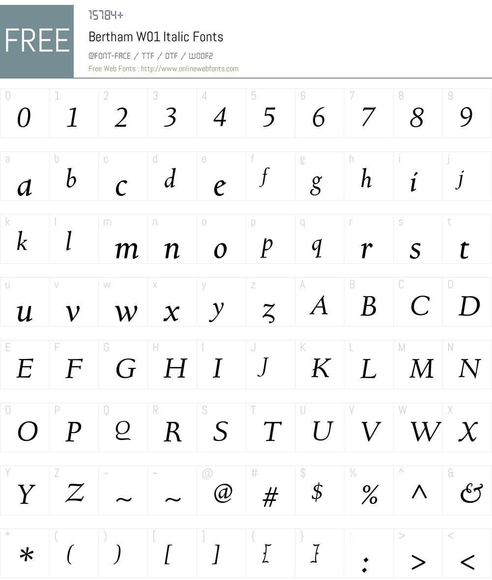 BerthamW01-Italic Font Screenshots