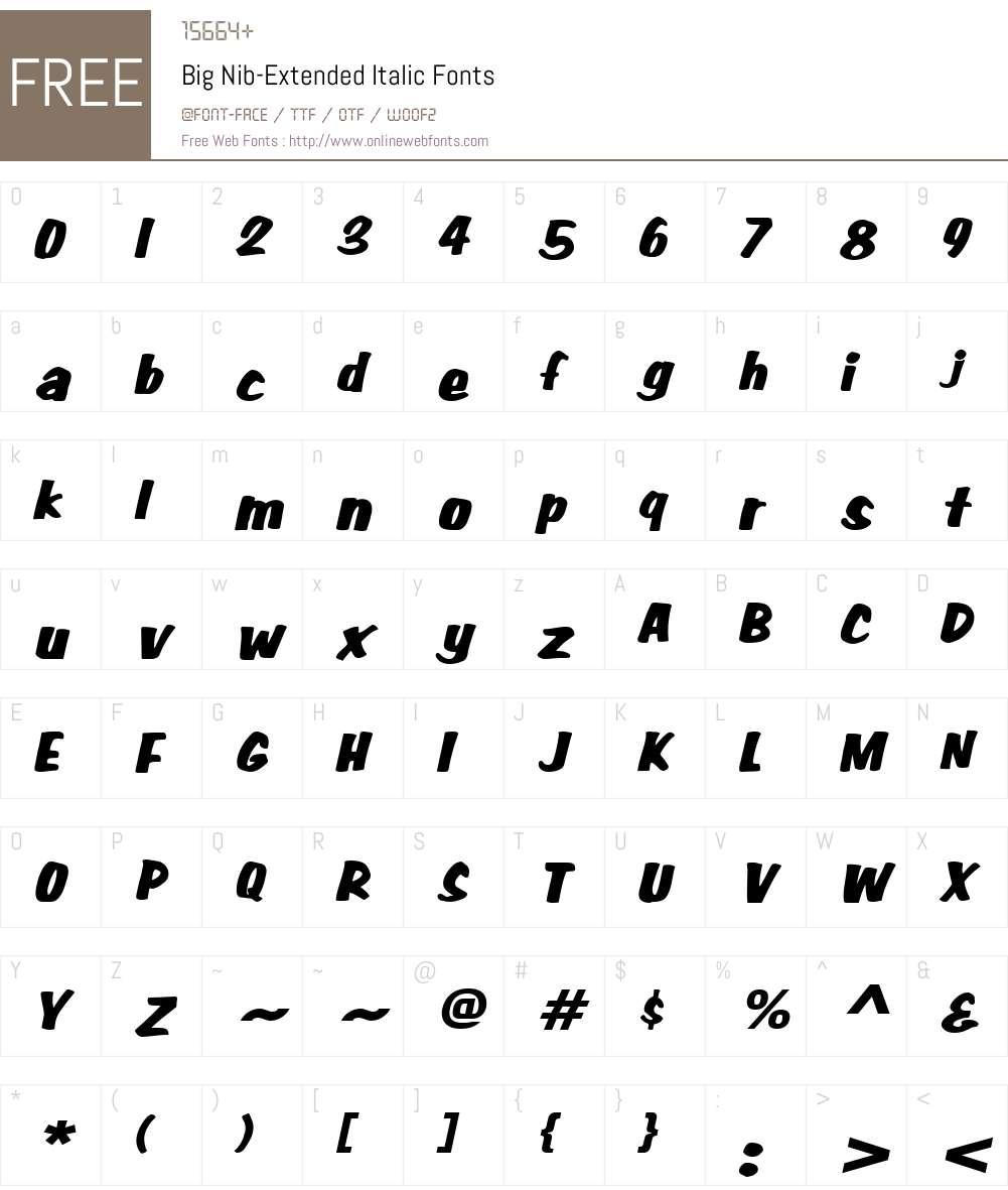 Big Nib-Extended Font Screenshots