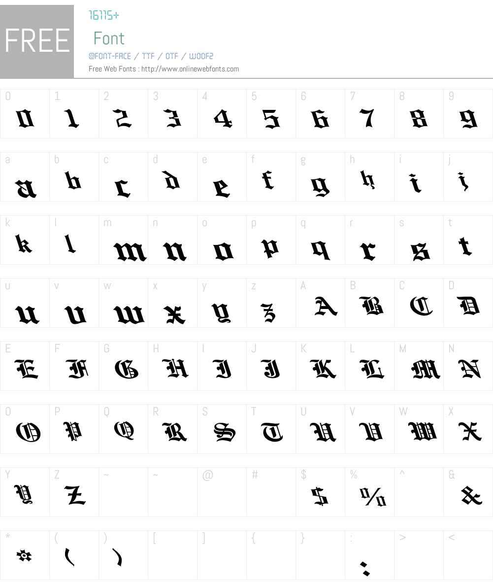 English Towne-Normal Lefty Wide Font Screenshots