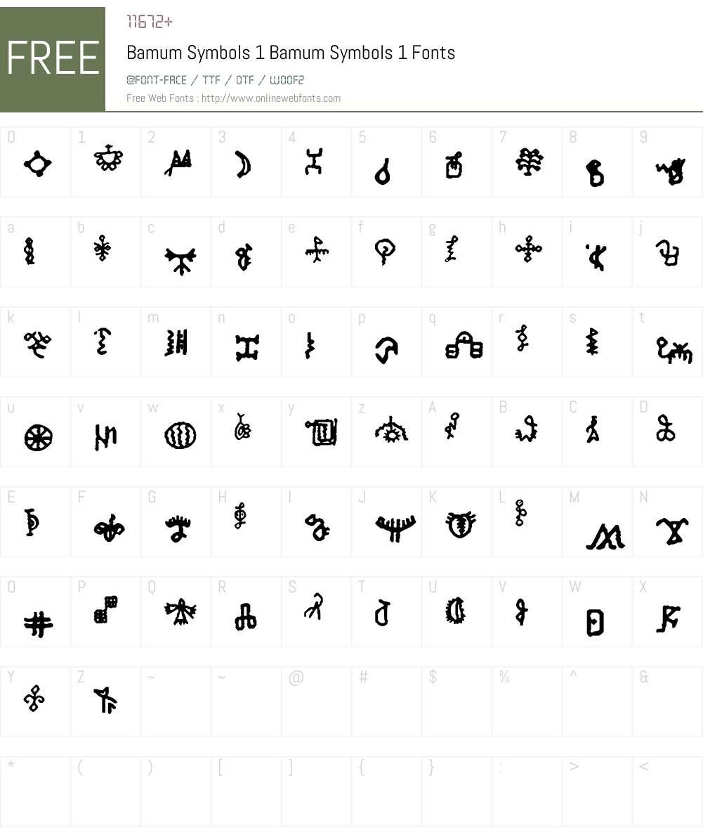 Bamum Symbols 1 Font Screenshots