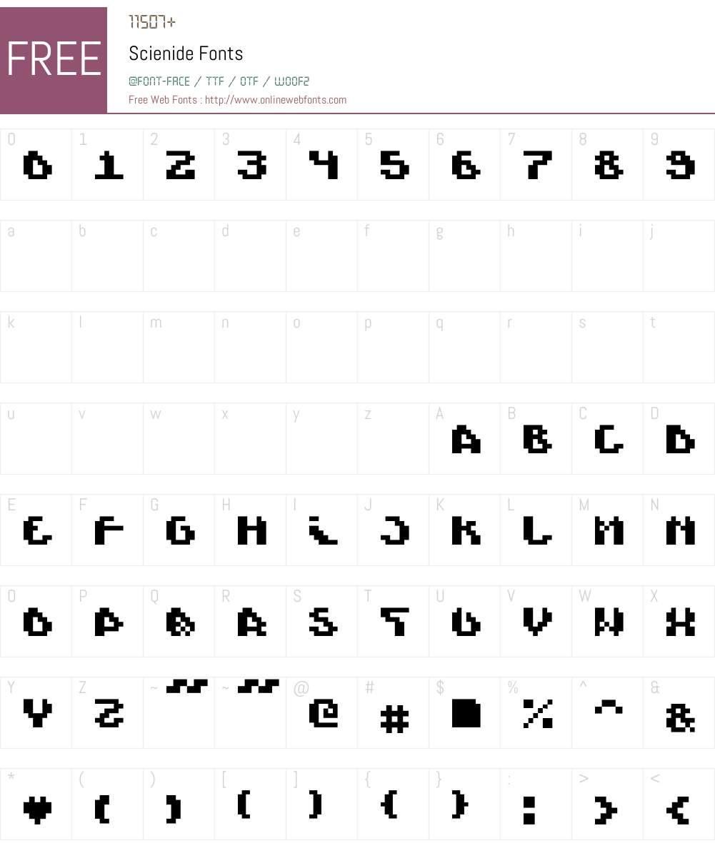 Scienide Font Screenshots