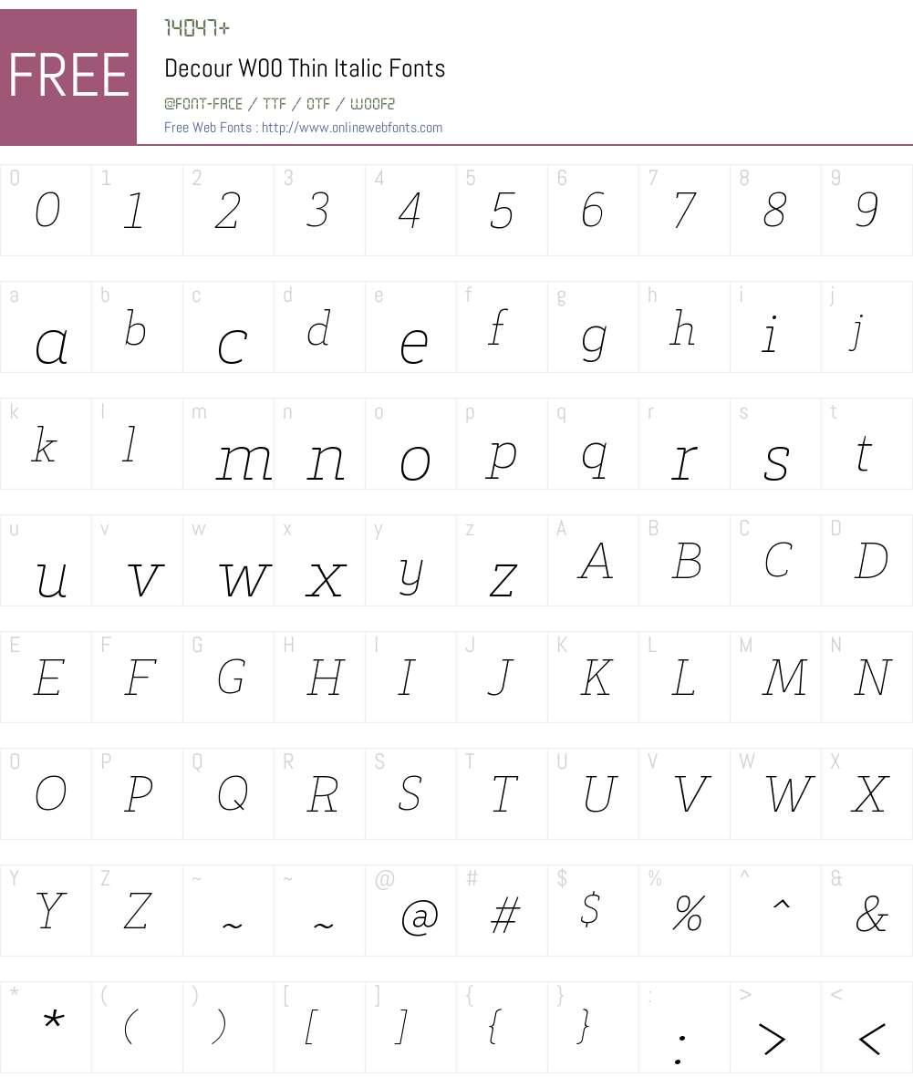 DecourW00-ThinItalic Font Screenshots