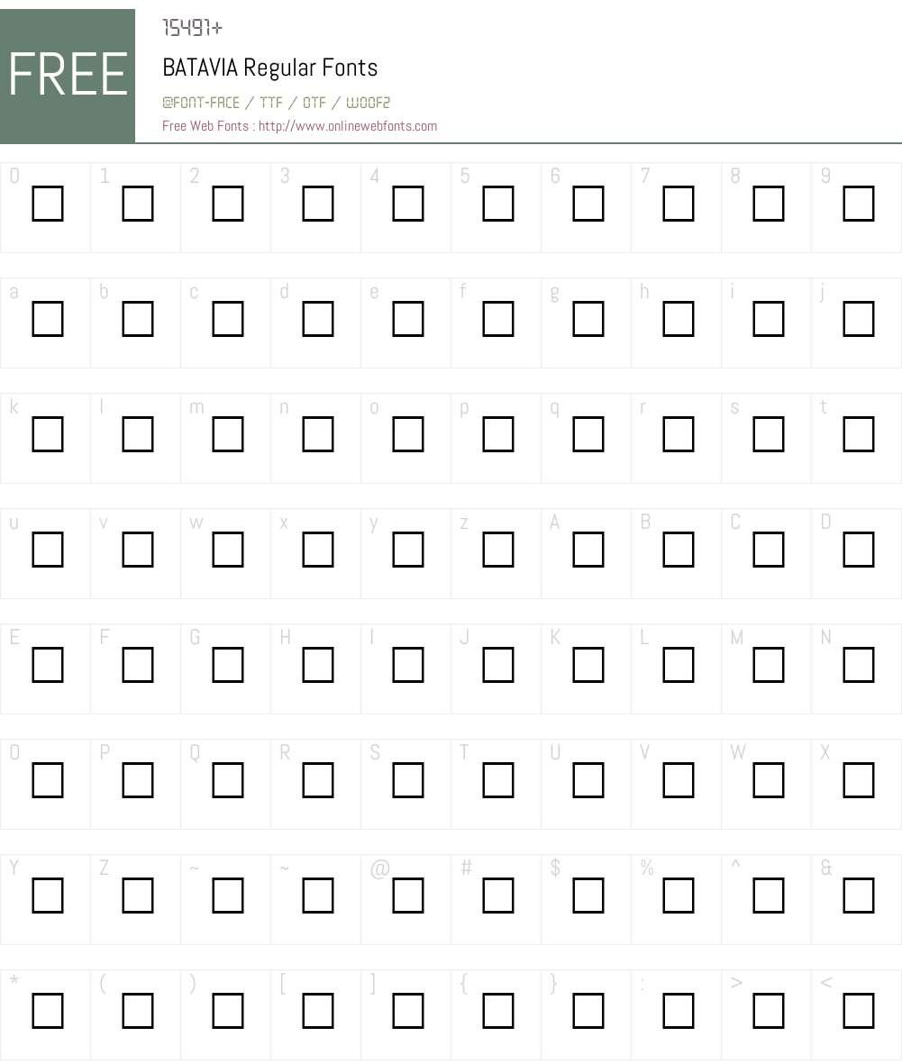 BATAVIA Font Screenshots