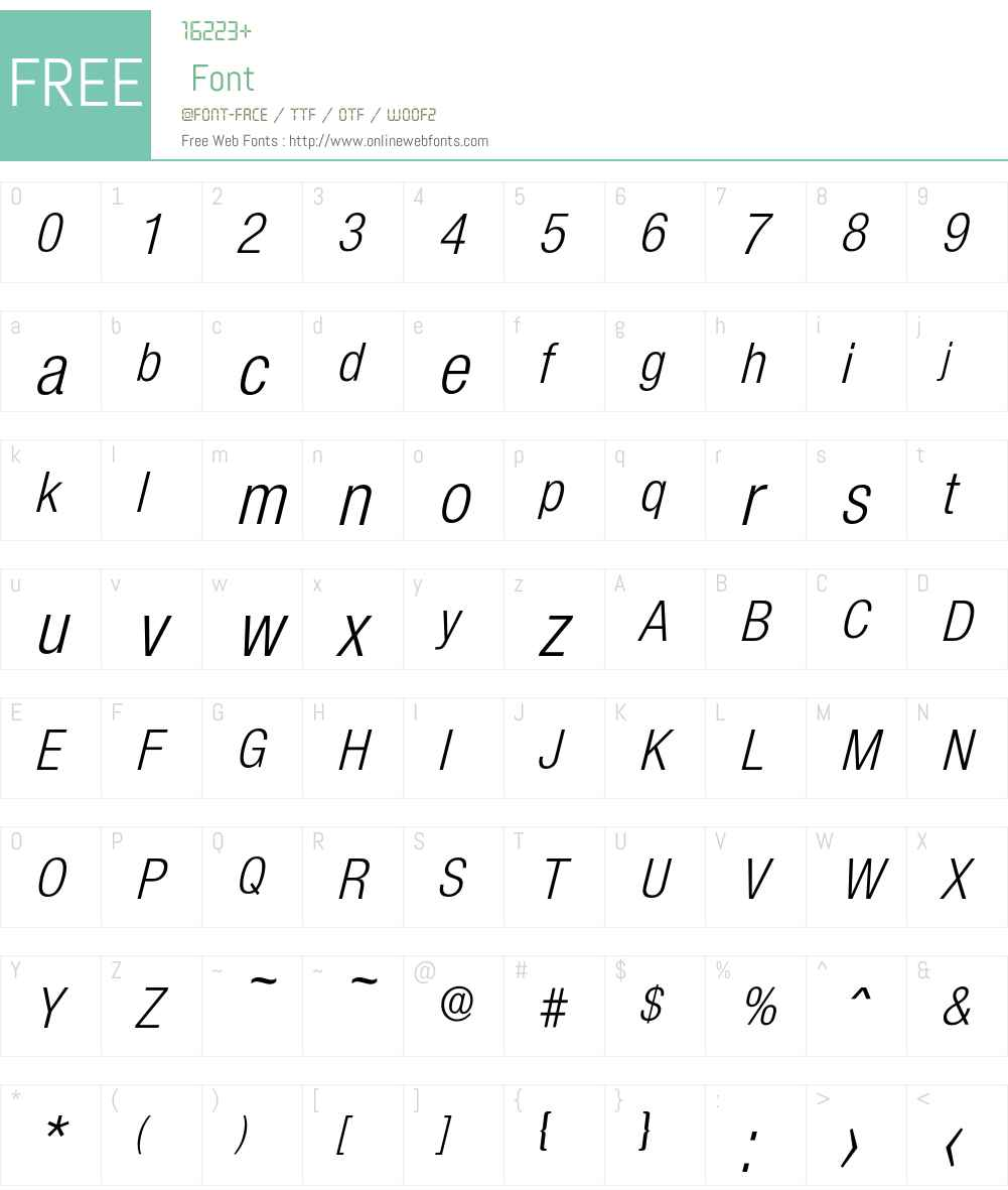 Olnova-RegularCondIta Font Screenshots
