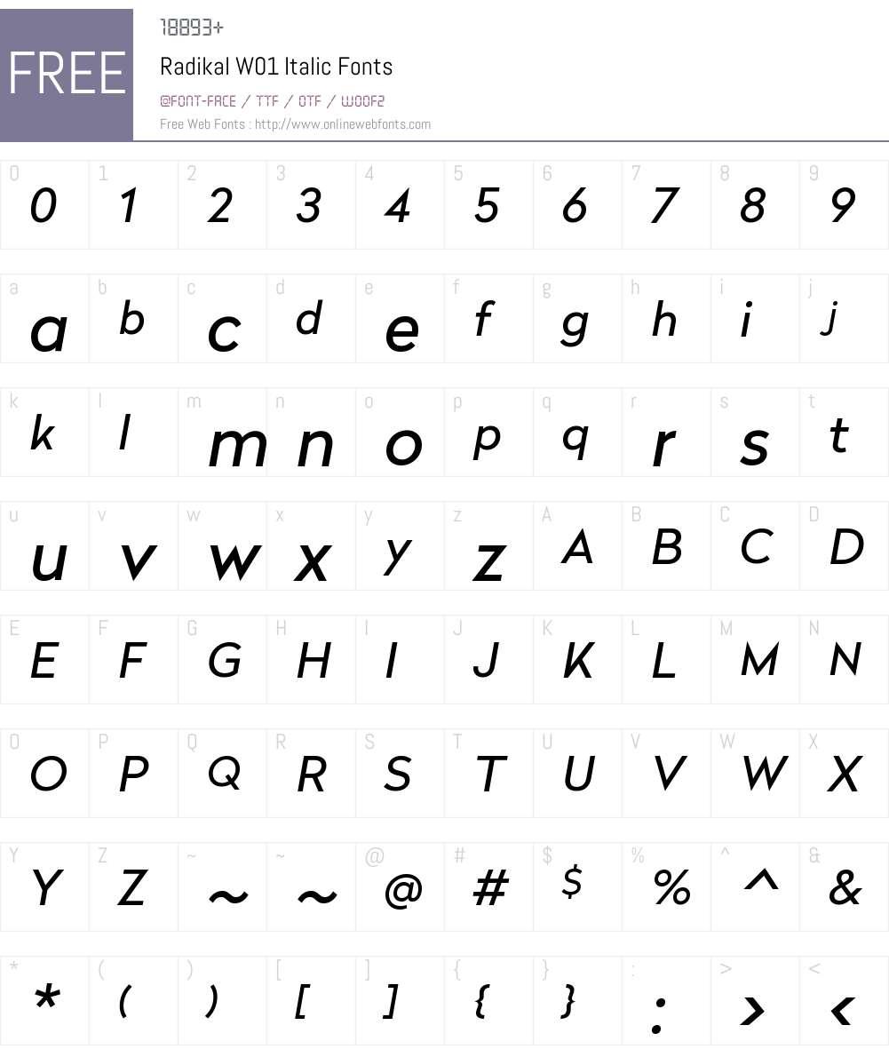RadikalW01-Italic Font Screenshots