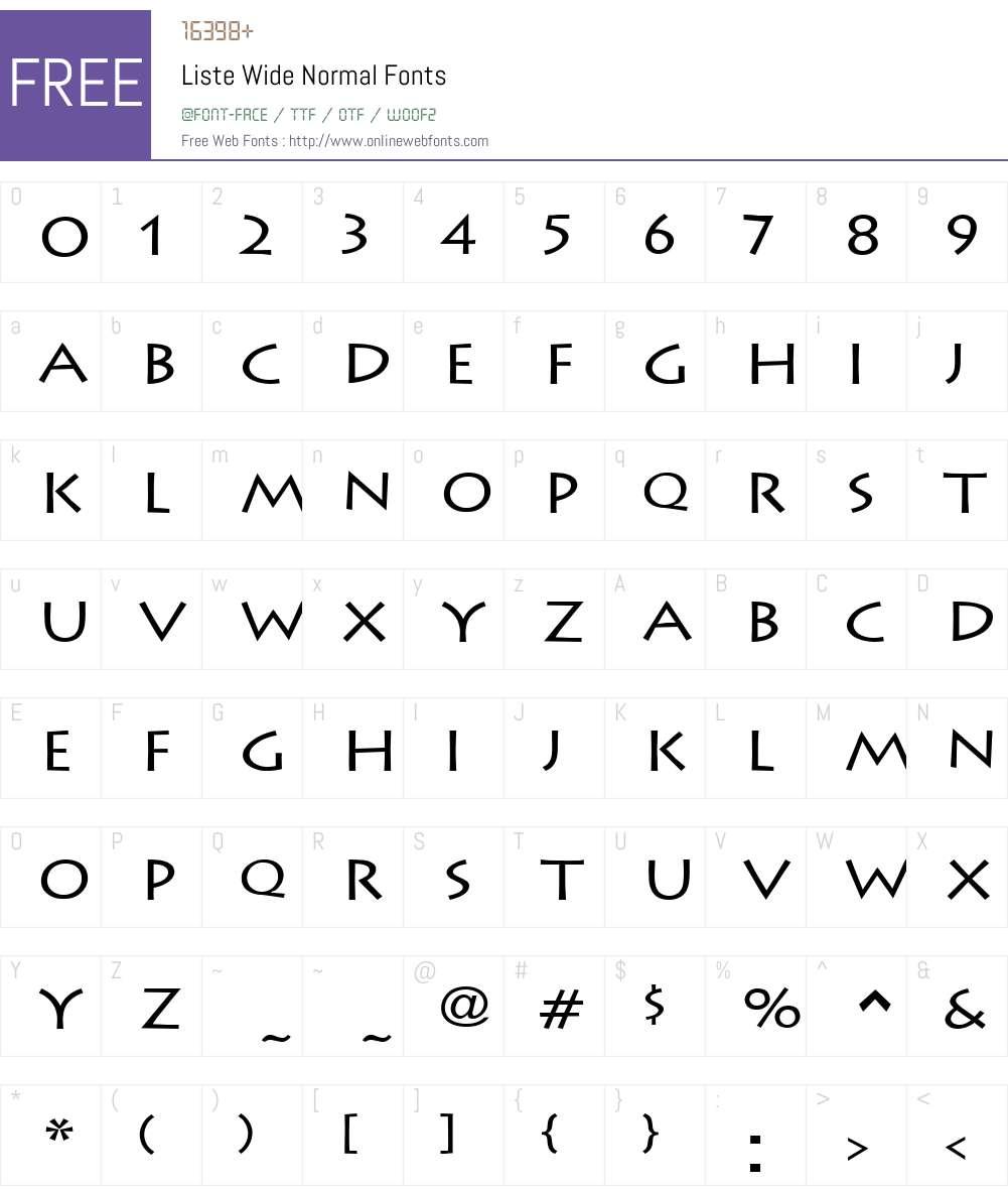 Liste Wide Font Screenshots