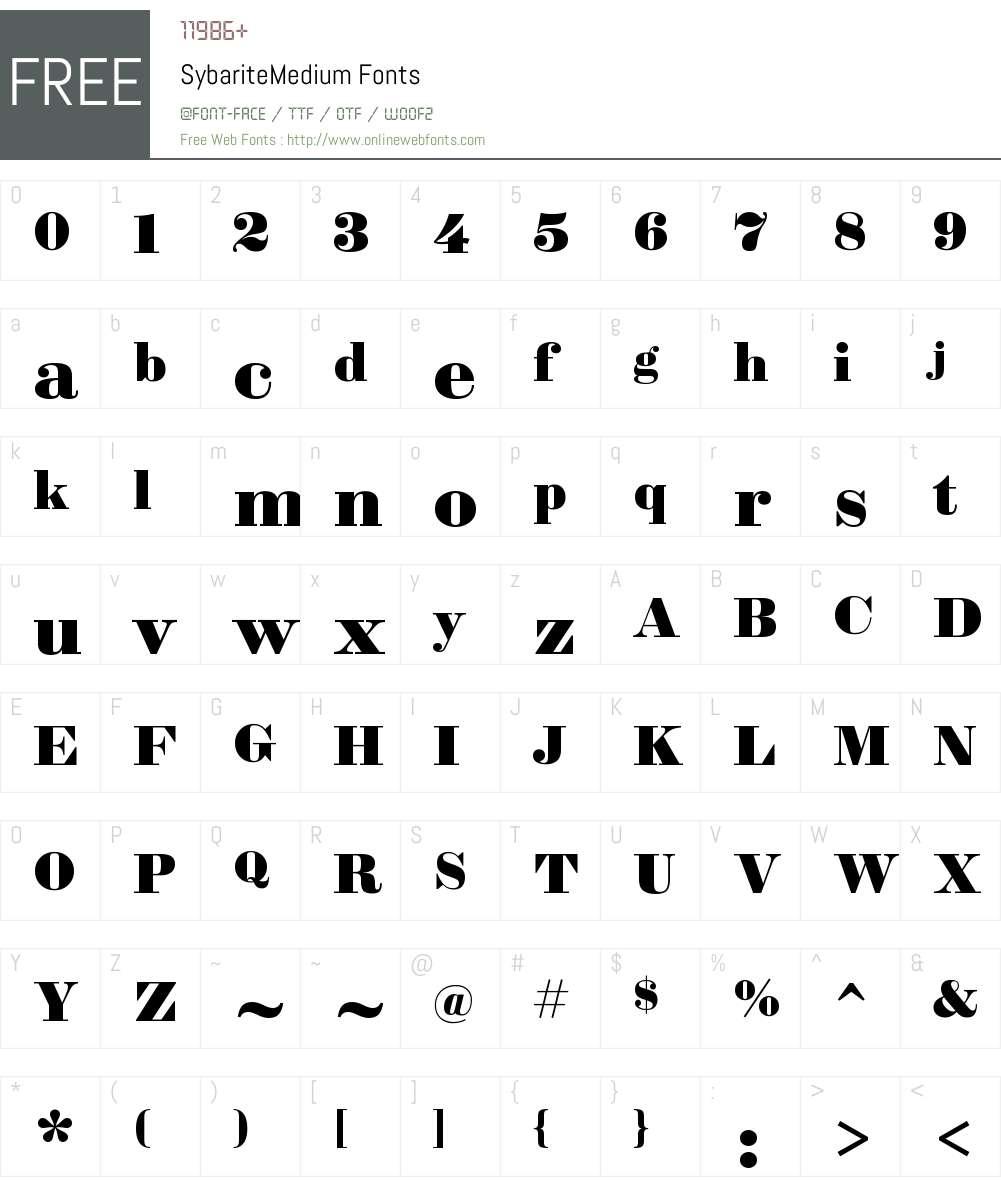 Sybarite Medium Font Screenshots