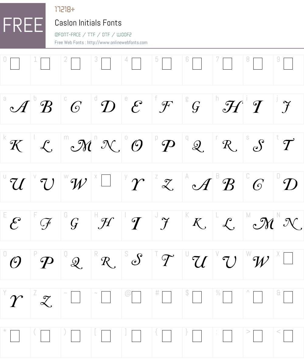 Caslon Initials Font Screenshots