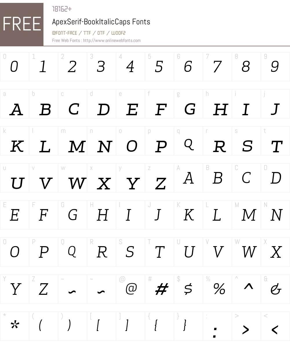 Apex Serif Book Italic Caps Font Screenshots