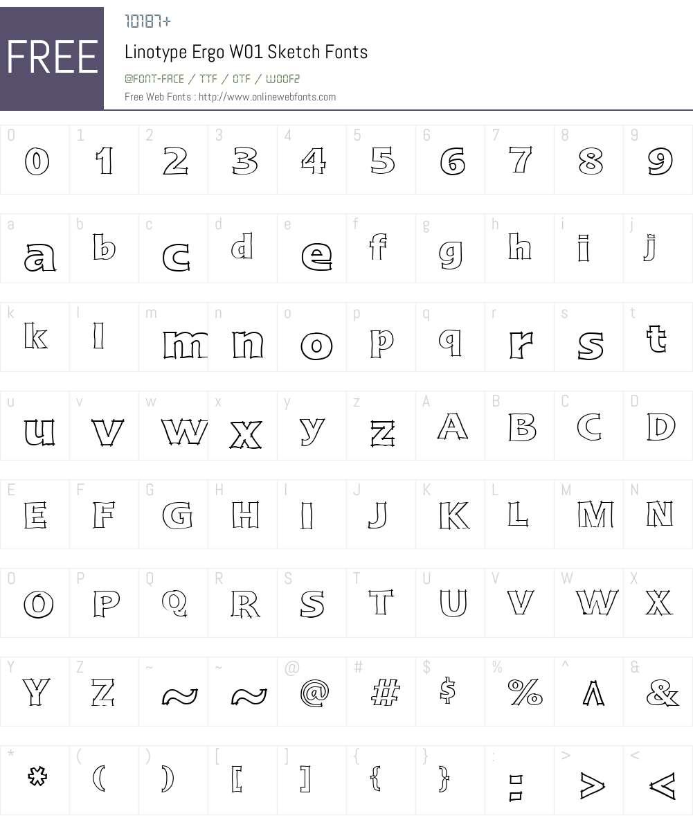 LinotypeErgoW01-Sketch Font Screenshots
