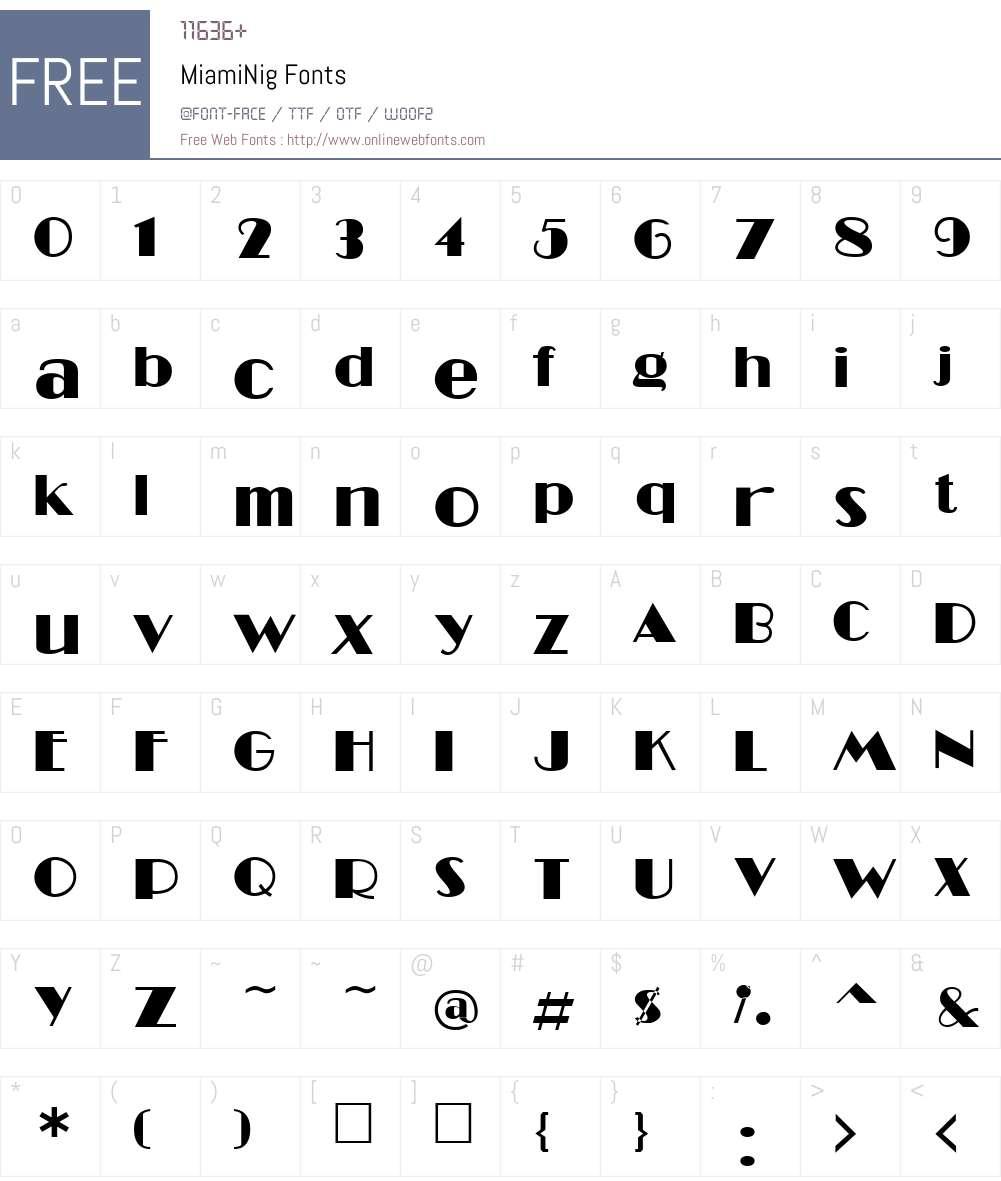 MiamiNig Font Screenshots