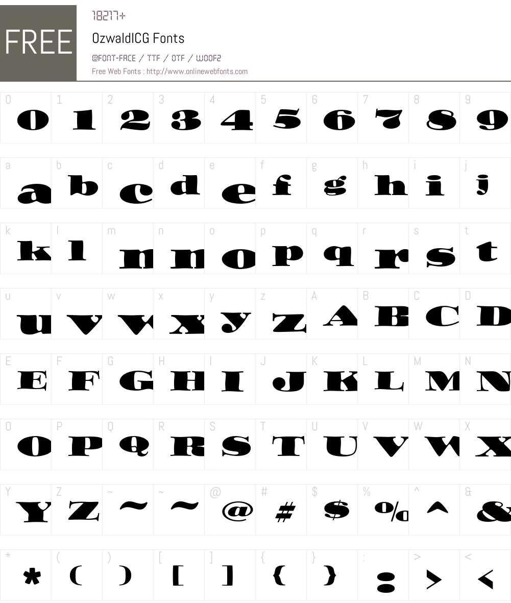OzwaldICG Font Screenshots